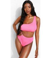 geribbelde bikini top met eén blote schouder en volle cups, pink