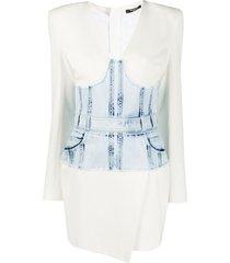 balmain denim corset dress - white