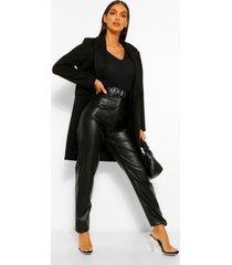 getailleerde nepwollen jas, zwart