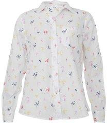 camisa gap reta floral branca