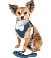 pet life luxe 'pom draper' 2-in-1 adjustable dog harness leash with pom-pom bowtie