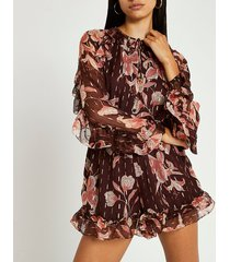 river island womens brown floral print ruffled playsuit