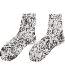 'fuzzy' all-over graphite print silk blend crew socks