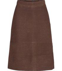 susan suede skirt knälång kjol brun lexington clothing