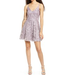 speechless embroidered mesh skater dress, size 9 in mauve at nordstrom