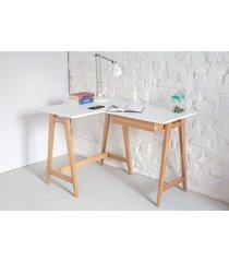 jesionowe biurko narożne luka 115cm x 85cm lewe