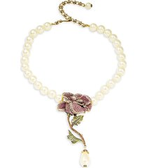heidi daus women's faux pearl & crystal rose necklace