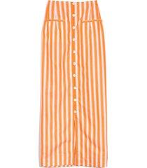 button down pencil skirt in orange stripe
