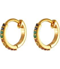 'fleron' sapphire ruby emerald 18k gold vermeil loop earrings