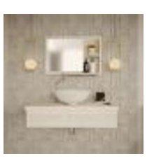 conjunto para banheiro bancada com cuba r35 redonda e espelheira city 801 snow