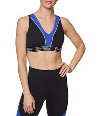 colorblock logo band sports bra