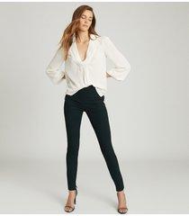 reiss tyne - skinny trousers in dark green, womens, size 14