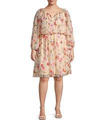 plus floral long-sleeve blouson dress