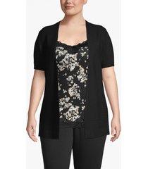 lane bryant women's ribbed-front short sleeve cardigan 14/16 black