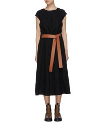 belted elastic waist wool midi dress