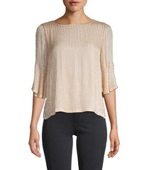 alice + olivia women's bernice beaded top - champagne - size s