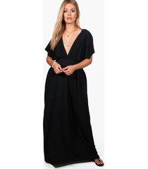plus maxi strand jurk met laag decolleté, zwart