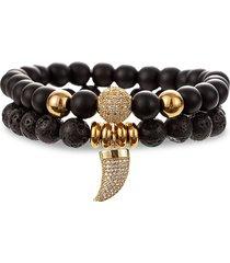 eye candy la men's eli 2-piece goldtone & multi-stone horn charm bracelet set