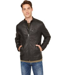 chaqueta g factory washed moto jacket negro guess