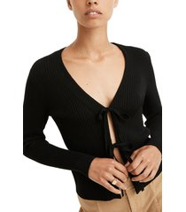 women's madewell bellemoor tie front rib cardigan, size small regular - black