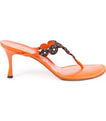 manolo blahnik orange leather beaded heeled thong sandals orange sz: 8.5