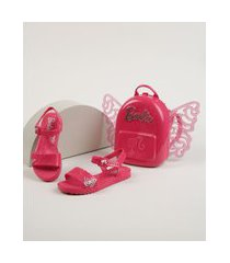 sandália infantil grendene barbie butterfly vem com mochila com asas rosa