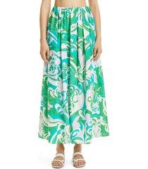 women's emilio pucci albizia print organic cotton cover-up skirt, size 10 us - green