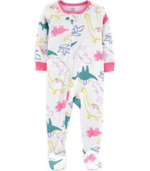carter's baby girl 1-piece dinosaur fleece footie pjs