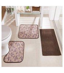 kit tapete de banheiro floral 3 peças antiderrapante bege