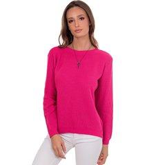 blusa myah lua rosa básico em tricô