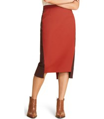 plus size women's marina rinaldi corallo step hem cotton blend pencil skirt