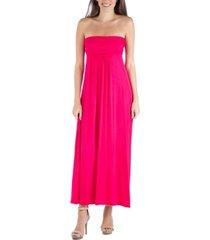24seven comfort apparel strapless empire waist maxi dress