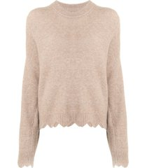 3.1 phillip lim crew neck sweater with scallops - grey
