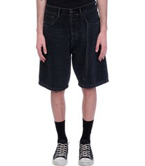acne studios shorts in black denim