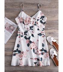 correas de hombro ajustables blancas cuello de pico con estampado floral vestido
