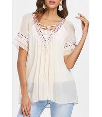 ethnic embroidery tunic chiffon blouse