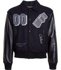 golden ratio leather varsity jacket