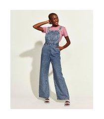 macacão jeans feminino mindset obvious marmorizado com bolsos azul médio