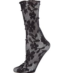allure floral lace slouch crew socks