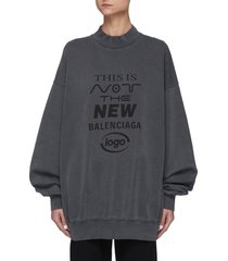 logo print drop shoulder cotton sweatshirt