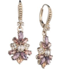 marchesa gold-tone crystal & imitation pearl cluster flower drop earrings