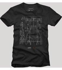 camiseta chassi reserva preto - preto - masculino - dafiti