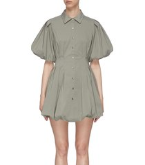 'cleo' pleat poplin balloon mini dress