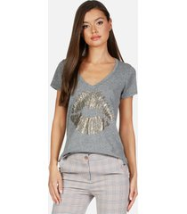 x emmalyn x gold chain kiss - l heather grey