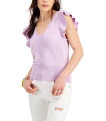 hooked up by iot juniors' flutter-sleeve sweater