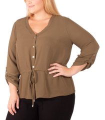 ny collection plus size drawstring-waist blouse
