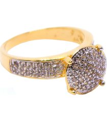 anel  chuveiro circular  semijoia banho de ouro 18k micro zircã´nias brancas detalhes em rã³dio - dourado - feminino - dafiti