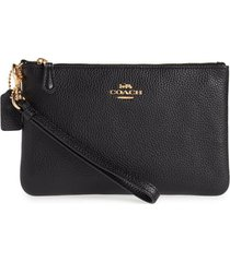 women's coach leather wristlet - black