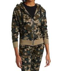 chrldr women's star camo zip-up hoodie - olive - size s