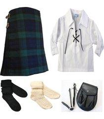 traditional scottish tartan kilt black watch men 8 yard 13oz white shirt  deal